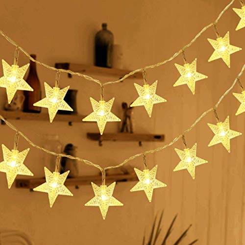 HOMVAN Guirnalda de Luces, Luces Estrellas de Hadas a Pilas 7,5 metros 50 luces LEDs Luces en Cadena para Navidad Halloween Decoración para Salón de Bodas Fiesta en el Jardín (Blanco cálido)