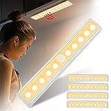 Asina 5 Stück Kabellos Schranklampe mit Bewegungssensor Handheld Batteriebetriebene Nachtlicht Aluminium Schrankleuchten mit Magnetstreifen Warmweiß zur Kinderzimmer Treppen Flur Camping