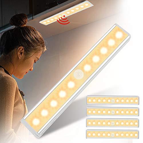 Asina 5 piezas Luz Armario Inalámbrica de Aluminio con Sensor de Movimiento Luces Nocturna de Mano con Tiras Magnéticas Blanco Cálido Lámparapara Habitación de Niños Escaleras Pasillo Camping