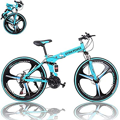 26 inch Adults Folding Mountain Bike for Men & Women High-Carbon Steel Mountain Bike Outdoor Exercise Road Bikes with 21 Speed Dual Disc Brakes Full Suspension Non-Slip (Blue)