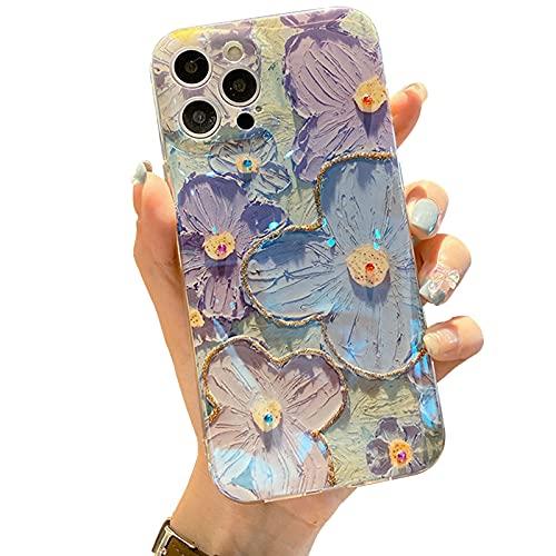 FOURTOC Cover Verniciato per iPhone 13/13 Pro/13 PRO Max/13 Mini Glitter di Raggio Blu Fiore Colore Ultra Sottile Morbida TPU Silicone Gel Custodia Case Cover,Purple Blue,13 Mini