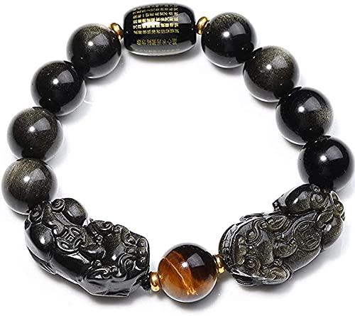 Beads de oración Islam Puertas de piedras preciosas Premium para hombres Feng Mujeres Feng Shui Pulsera de la riqueza Obsidian Doble Pixiu / Piyao Pulsera Corazón Sutra Buda Buda Pulsera Atrae la buen