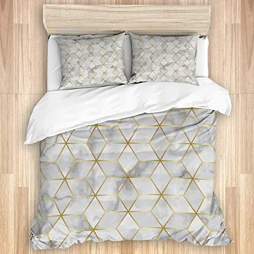 Juego de funda nórdica de 3 piezas, fondo de azulejo de mosaico de mármol de lujo, juego de fundas de edredón de microfibra de lujo para dormitorio, colcha con cremallera con 2 fundas de almohada