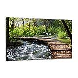 Cuadro sobre lienzo - Impresión de Imagen - Parque naturaleza verde árboles - 120x80cm - Imagen Impresión - Cuadros Decoracion - Impresión en lienzo - Cuadros Modernos - AA120x80-0356