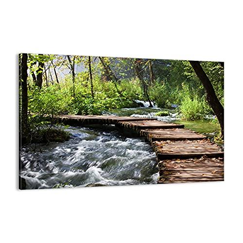 ARTTOR Cuadro sobre Lienzo - Impresión de Imagen - Parque Naturaleza Verde árboles - 120x80cm - Imagen Impresión - Cuadros Decoracion - Impresión en Lienzo - Cuadros Modernos - AA120x80-0356