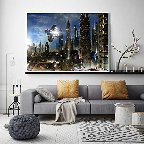 zxddzl Fantasy Canvas Art HD Print Modern Office Art Deco decoración de la Pared Pintura al óleo Dream City Picture