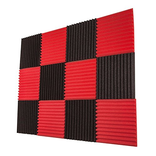 Foamily 12 Pack- Red/Charcoal Acoustic Panels Studio Foam Wedges 1' X 12' X 12'
