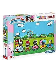 Clementoni - 23742 - Supercolor pussel - Hello Kitty - 104 maxi-bitar - Tillverkad i Italien - pussel barn 4+