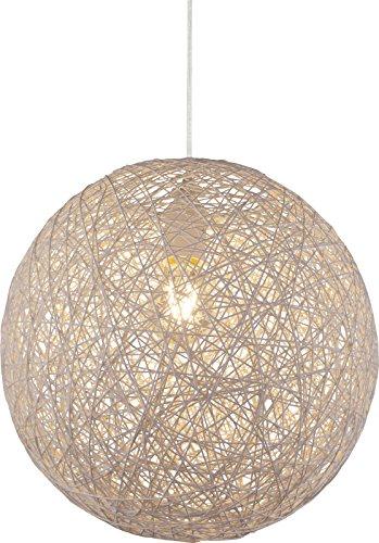 Hängelampe Kugel Papier-Geflecht 1 Flammig Hängeleuchte Pendelleuchte Schlafzimmerlampe (Pendellampe, Wohnzimmerlampe, 32 cm, Höhe 120 cm, Beige)