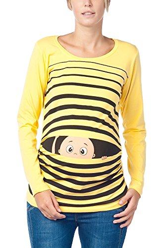 Vêtement de Maternité Humoristique T-Shirt Mignon à Motifs Cadeau pour Grossesse Femme Humour Tee Haut Vetement de Maternite à Manches Longues (Jaune, Large)