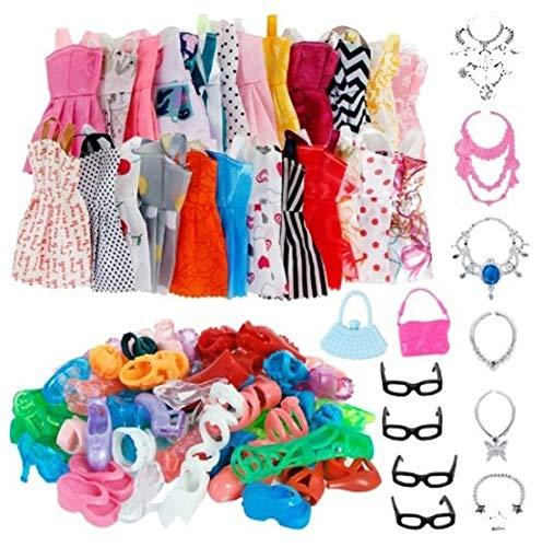 WiseGoods Juego de accesorios de ropa para muñecas Barbie (32 unidades, 10 vestidos + 10 pares de zapatos + 6 cadenas + 2 vasos de mano para regalo infantil)