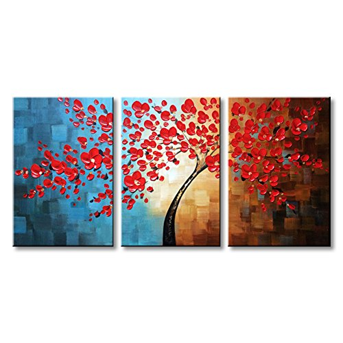 Winpeak Art Hand Painted Red Flower Oil Painting Large Framed Modern Floral Canvas Wall Art Abstract Plum Blossom Artwork