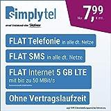 Handyvertrag simplyTEL LTE 5000 - ohne Vertragslaufzeit (FLAT Internet 5 GB LTE mit max. 50 MBit/s mit deaktivierbarer Datenautomatik, FLAT Telefonie, FLAT SMS und EU-Ausland, 7,99 Euro/Monat)