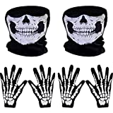 Skeleton Gloves and Skull Face Mask Half Ghost Bones for Adult Halloween Dance Costume Party