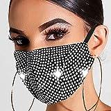 Ushiny Máscara de cristal brillante para fiestas de disfraces de Halloween, accesorio de disfraz de Mardi Gras para mujeres y niñas (plateado)