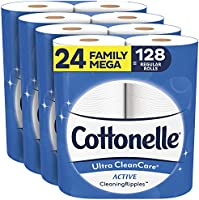 Cottonelle Ultra CleanCare Soft Toilet Paper with Active Cleaning Ripples, 24 Family Mega Rolls, Strong Bath Tissue (24...