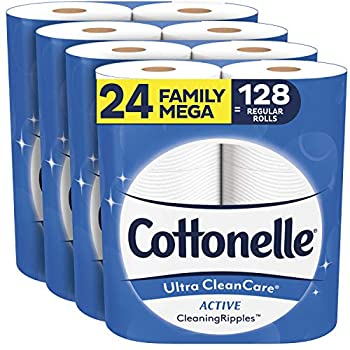 Cottonelle Ultra CleanCare Soft Toilet Paper with Active Cleaning Ripples 24 Family Mega Rolls Strong Bath Tissue  24 Family Mega Rolls = 128 Regular Rolls