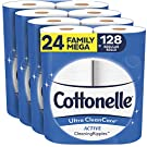 Cottonelle Ultra CleanCare Soft Toilet Paper with Active Cleaning Ripples, 24 Family Mega Rolls, Strong Bath Tissue (24 Family Mega Rolls = 128 Regular Rolls)