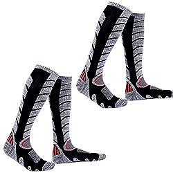GUUMOR Herren Skisocken 2 Paar Atmungsaktive Thermo Wintersport Socken Kniestrumpf Geruchshemmend Höhere Leistung Funktionssocken Schwarz Black Lange M