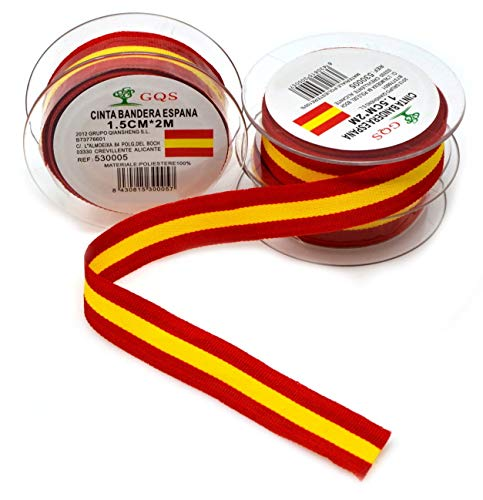 VENTURA TRADING 6 Metros x 15 mm Cinta española 1,5 cm Cinta Cinta de españa Cinta de españa Pulseras Bandera España Corbatas Bandera de españa Colores españoles