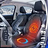 YUESUO Heated Car Seat Cushion, 12V Car Heated Cover with 3 Levels Switch Temperature Controller, Quick Car Seat Warmer Perfect for Car, Home, and Office Chair