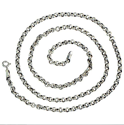 Aienid 925 Necklace with Pendant Rolo Chain Necklace 3MM Width 32 Inch Chain Necklaces