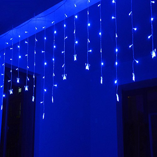 PowerLead 3.5M 96SMD Vlinder LED String Gordijn Lights 16 LED Strings voor Thuis Tuin Vakantie Kerstboom Bruiloft Party Xmas Decor-Blauw