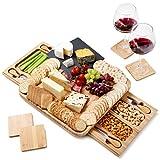 Tabla de quesos de pizarra de bambú incluye posavasos - 2 gavetas deslizables con 4 cuchillos de acero inoxidable - Regalo perfecto - Por PlaNet