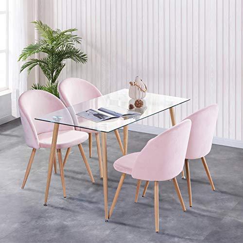 GOLDFAN Esstisch mit 4er Sessel Glastisch und 4 Samt Stuhl Wohnzimmertisch und Lounge Sessel