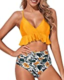 Tempt Me Women Yellow Two Piece Swimsuits High Waisted...