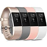 [4 Pack] Sport Bands Compatible with Fitbit Charge 2 Bands for Women Men, Soft Silicone Classic Adjustable Replacement Wristbands for Fitbit Charge 2 (Small, Gold,Gray,Pink,White)