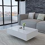 vidaXL Mesa de Centro Moderna Rectangular MDF Blanco Brillante Mesita de Salón