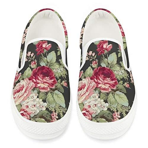 Chaqlin Zapatos de lona para caminar con estampado floral elegante, zapatillas de correr, zapatillas de deporte, gimnasio, ligeras.