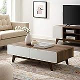 Modway Origin 47' Mid-Century Modern Wood Coffee Table In Walnut White