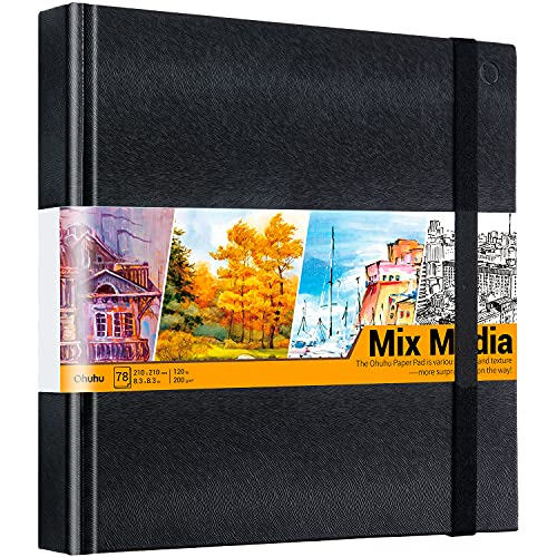 Mix Media Pad, Ohuhu 8.3'x8.3' Mixed Media Art Sketchbook, 120 LB/200 GSM Heavyweight Papers, 78 Sheets/156 Pages, PU Hardcover Mixed Media Paper Pad for Acrylic, Painting Christmas Gift