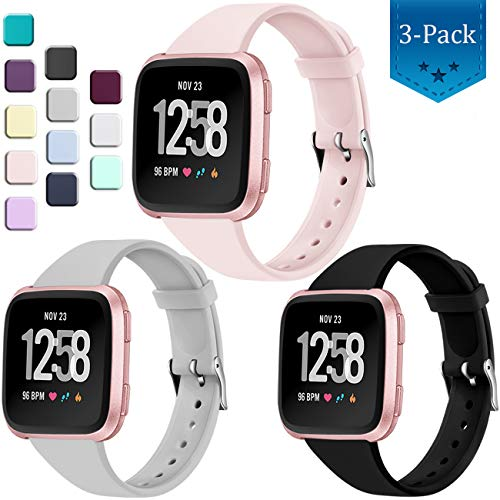 Wepro Bands Compatible with Fitbit Versa SmartWatch, Versa 2 and Vesra Lite SE Watch, Small, Soft Silicone Slim Band Replacement Wristband Straps for Women Men, 3-Pack, Black Pink Sand State Gary