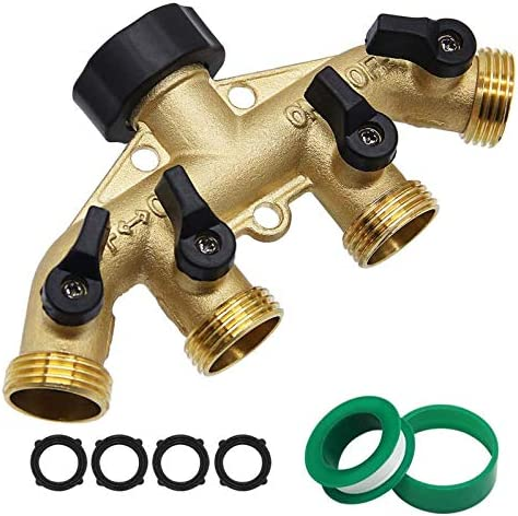 Twinkle Star 4 Way Heavy Duty Brass Garden Hose Splitter Hose Connector 3 4 Hose Spigot Adapter product image