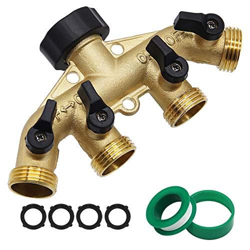 "Twinkle Star 4 Way Heavy Duty Brass Garden Hose Splitter, Hose Connector 3/4"", Hose Spigot Adapter with 4 Valves"