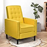Giantex Push Back Recliner Chair, Modern Fabric Recliner w/Button-Tufted Back, Accent Arm Chair for Living Room, Bedroom, Home Office (Yellow)