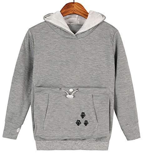 Girls Cat Dog Pouch Hoodies Kitten Puppy Carrier Holder Shirts Sweatshirt Tops 7T Light Grey
