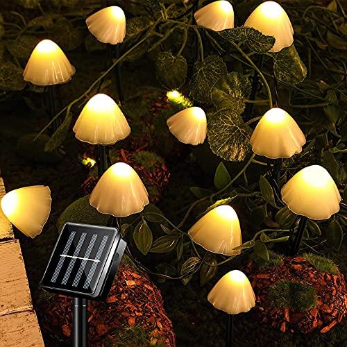 Luci Da Giardino Solari Da Esterno 12 LED Fungo Stringa Luci Da Terra Impermeabili Decorazione...