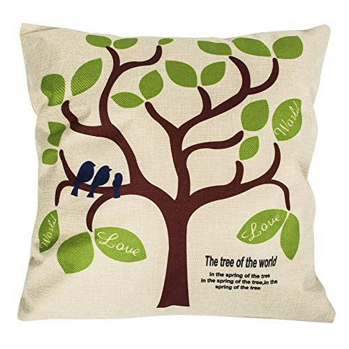 """CoolDream Cotton Linen Square Decorative Throw Pillow Case Shell Cushion Cover Bird On Tree 18 """"X18 """""""