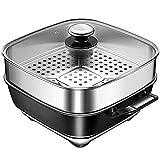 LLHH Hot Pot, Inicio de múltiples Funciones Sartén eléctrica compartida Cocinar Barbacoa Moderna Dos en Uno Hot Pot asado Fumar no freidora Guiso Freír Cocinar Stick (5L)