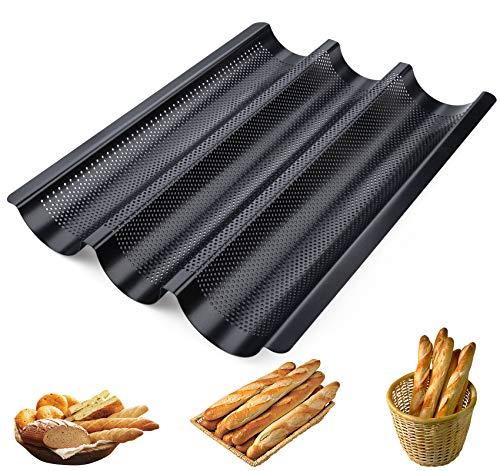 ilauke Baguetteform mit Antihaftbeschichtung 3 Mulden 38,5x28,5x3,5cm Baguetteblech für Laib Backen, Karbonstahl, Schwarz