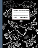 Triceratops Composition Notebook: Black & white Triceratops Dinosaur Zoo | Wide Ruled Composition Notebooks for kids, teens and dino lovers | 140 Pages | size 8 x 10 in