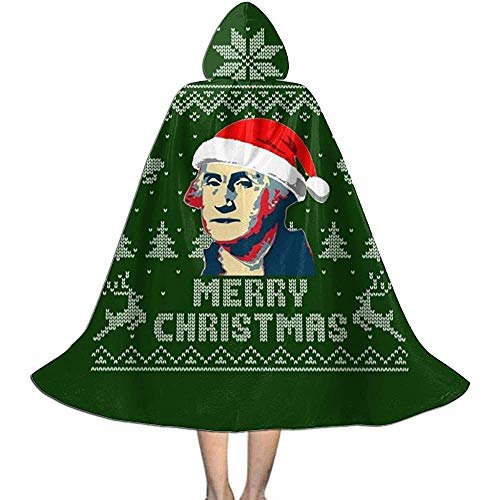 Not Applicable Kap Mit Kapuze,Hexenzauberer Umhang,Erwachsener Deluxe Umhang,Frohe Weihnachten George Washington Strickmuster Hexen Zauberer Umhang,Halloween Party Dekoration Outwear,Vampir Umhang