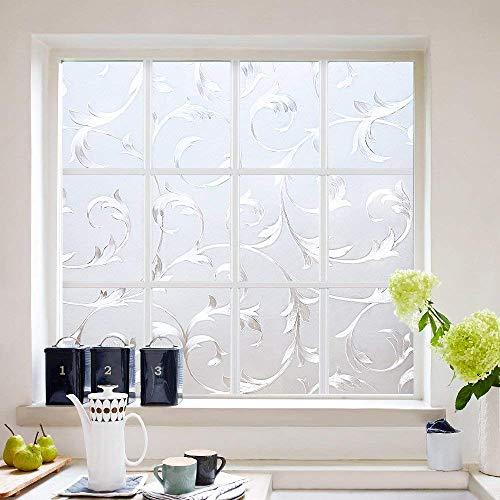LMKJ Película de Ventana de Mantenimiento Fresco estático patrón de Vid decoración del hogar protección de privacidad Pegatina de Vidrio Esmerilado Impermeable A50 60x100cm