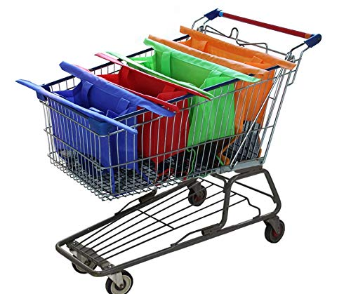 Reusable Shopping Cart Bags and Grocery Organizer Designed for Trolley Carts by Modern Day Living (Shopping Cart Bags As Seen On Tv)