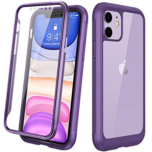 "DIACLARA Compatible with iPhone 11 Case, Full Body Rugged Case with Built-in Touch Sensitive Anti-Scratch Screen Protector, Soft TPU Bumper Case Clear Compatible with iPhone 11 6.1"" (Purple and Clear)"
