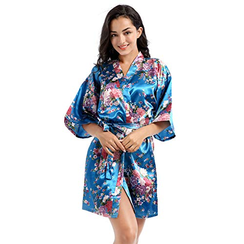 Vrouwen Daffodil Patroon Kamerjas Zachte Badjas Handdoek Zijdeachtig Satijn Nachtkleding Housecoat Bubbelbad Strand Badstof-8 Kleuren,Lake blue,L
